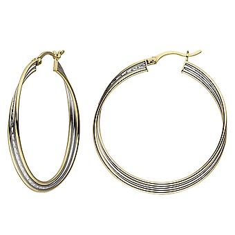 Hoop earrings 925 silver bicolor gold plated earrings silver hoop earrings silver earrings