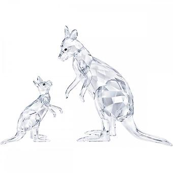 Swarovski Kangaroo Mother With Baby Crystal Figurines