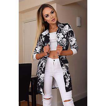 Audrey Floral Longline Jacket - Black