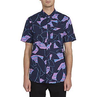 Volcom Secret Leaf Short Sleeve Shirt in Blue Black