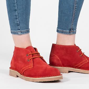Roamers Original Unisex Suede Leather Desert Boots Red