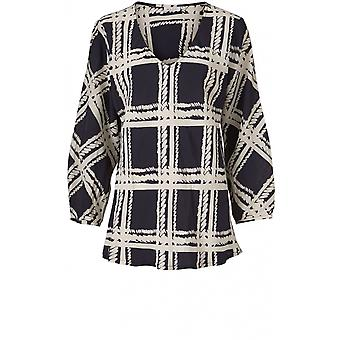 Masai Clothing Bess Navy Patterned Top