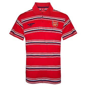 Arsenal FC Mens Polo Shirt Striped OFFICIAL Football Gift