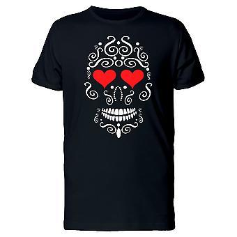 Zdobione czaszki z sercem oczy Koszulka męska-obraz przez Shutterstock