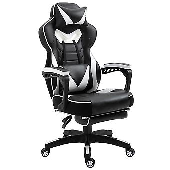 Vinsetto Ergonomic Racing Gaming Chair Office Desk Chair Adjustable Height Recliner with Wheels, Headrest,Lumbar Support Retractable Footrest Home Office, White