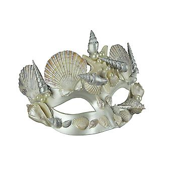Pearl White and Silver Seashell Mermaid Adult Halloween Costume Mask