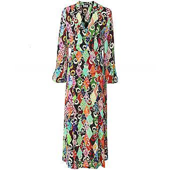 RIXO Autumn Patchwork Midi Dress