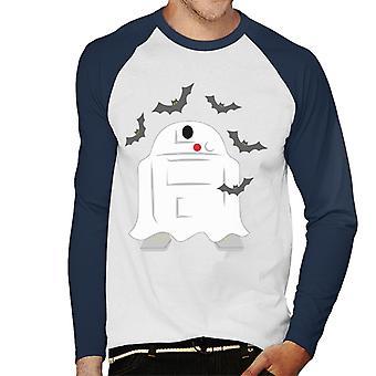 Star Wars Halloween Spooky Ghost R2D2 Hommes-apos;s Baseball Long Sleeved T-Shirt