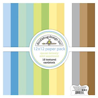 Doodlebug Design Livraison spéciale 12x12 Inch Textured Cardstock Paper Pack