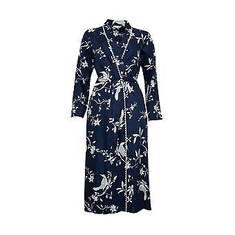 Cyberjammies Nora Rose Scarlett 1437 Femeiăs Navy Blue Bird Print Long Robe