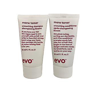 evo Mane Tamer Smoothing Shampoo & Conditioner Set 1.1 OZ Elk