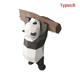 Funny Diy Wall Hanging Handmade 3d Geometric Panda Ornament For Home Decoration