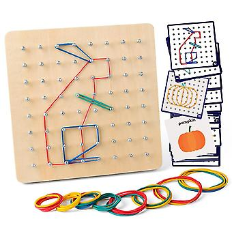 Wooden Geoboard Mathematical Manipulative Block Cards With Rubber Bands, Stem