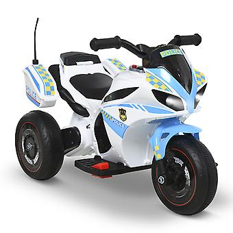 HOMCOM Kids Electric Ride On Motorcycle 6V Battery Powered Electric Trike Toys 18-36 Months Old with Light Music Storage Box White Blue