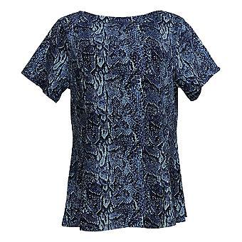 Denim & Co. Femmes&apos&s Petite Top Fit & Flare Knit Bleu A366234