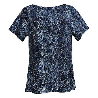 Denim & Co. Women's Petite Top Fit & Flare Knit Blue A366234