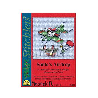 Santas Airdrop - Stitchlets Small Christmas Counted Cross Stitch Card Making Kit
