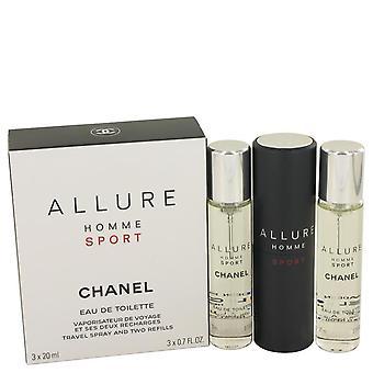 Allure homme sport mini edt spray + 2 navullingen door chanel 3 x 21 ml