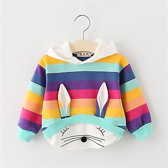 Spring Autumn Baby Girl Cotton Hooded Sweatshirt Cartoon Rabbit Striped Casual