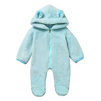 Newborn Baby Boy Winter Fleece Jumpsuit Infant Solid Hooded Romper Warm Coat Outwear Clothes