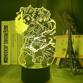 Gon ja Killua Kuva 3d Night Light Bedroom Sisustus (22cm*16cm*6cm)