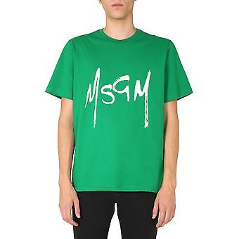 Msgm 2940mm19520759836 Mænd's Grøn Bomuld T-shirt