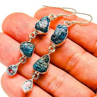 """Blue Fluorite, Blue Topaz Earrings 2 3/8"""" (925 Sterling Silver)  - Handmade Boho Vintage Jewelry EARR407488"""