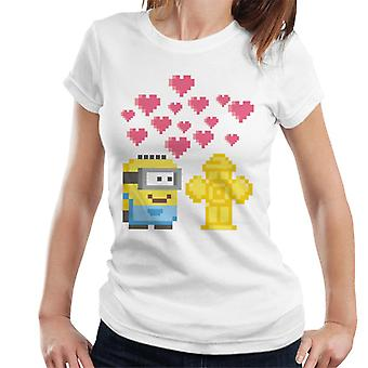 Despicable Me Minion Pixel Love For Fire Hydrant Women's T-Shirt