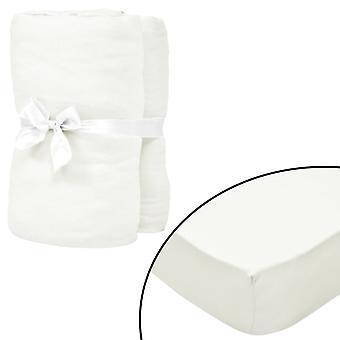 vidaXL stretch bed sheets cot 4 pcs. 70x140 cm cotton jersey natural