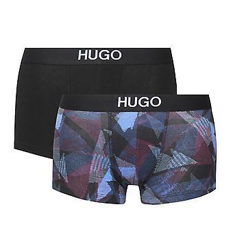 HUGO 2 Pack Black & red Patterned Trunks