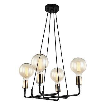 Pendentif suspendu moderne bronze, noir 4 lumière, E27