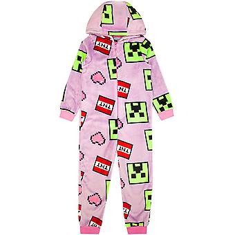 Minecraft Onesie For Girl Gamers | Kids All In One Creeper Pyjamas | Children's Hooded Fleece Sleepsuit with Hearts & TNT Print