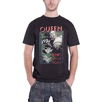 Queen T Shirt  News of the World Distressed band logo Official Mens Black
