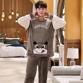 Winter Long Sleeve Thick Warm Flannel Pajama Sets Coral Velvet Sleepwear Suit