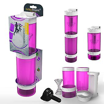 Intelishake Flamingo Pink - Shaker Flasche Multi-Fach Protein/Workout/Saft mit Wasser Kohle Filter für Sportübung & Gym