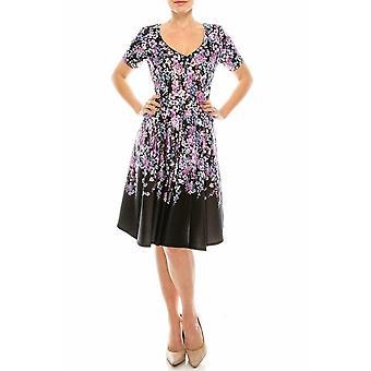 Lavendel blommig tryckt cirkel kjol klänning