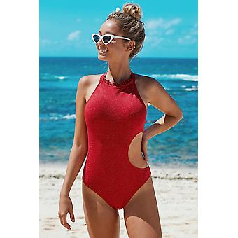 Frilled Neck Cut-out Ribbed One Piece Swimwear