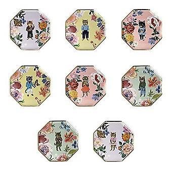 Meri Meri Nathalie Lete Floral Cat Side Party Plates x 8