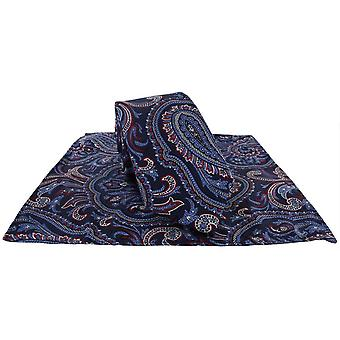 Michelsons av London Paisley Tie og Pocket Square Sett - Rød