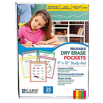 Reusable Dry Erase Pockets, Neon Colors, 9 X 12, Pack Of 25