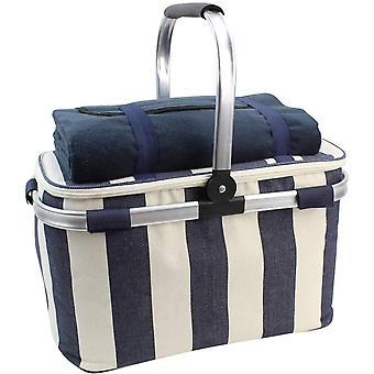 HappyPicnic 25L Insulated Cooler Bag with Foldable Aluminium Handle, Cool Bag Picnic Cool Basket