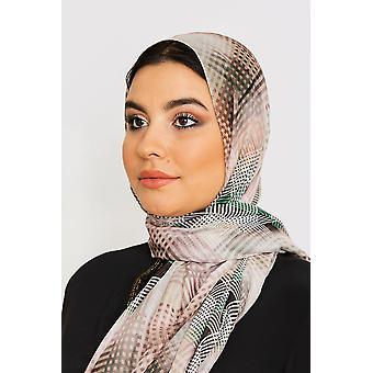 Kvinnor & s lätt satin huvud halsduk i grönt & beige kontrollera tryck