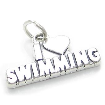 I Love Swimming Sterling Silver Charm .925 X 1 Swimmer Swimmers Charms - 3792