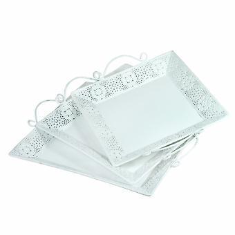 Bandeja de metal bellamente diseñada con mango, conjunto de 3, blanco