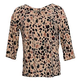 Denim & Co. Women's Top Printed Heavenly Jersey 3/4-Sleeve Pink A383570