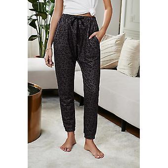 Fashion Gray Casual Skinny Leopard Print Pants
