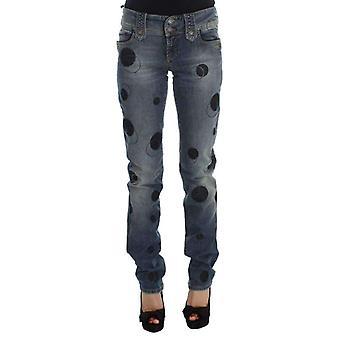 Galliano Blue Wash Cotton Blend Slim Fit Bootcut Jeans