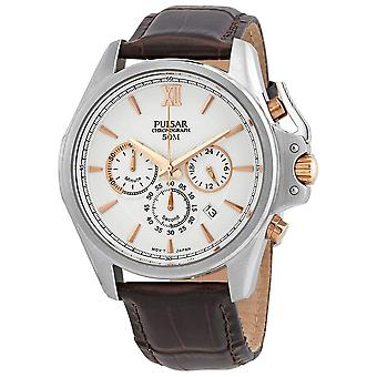 Pulsar Chronograph Silver Dial Black Leather Men's Watch PT3441