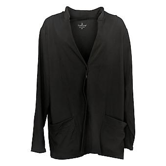Cuddl Duds Women's Sweater Plus Jersey Luxe Snap Front Black A381704