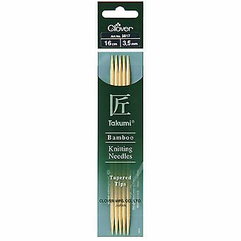 Clover Knitting Pins: Double-Ended: Set of Five: Takumi Bamboo: 16cm x 3.50mm